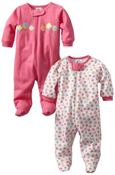 Amazon.com: Gerber Baby-Girls Two-Pack Sleep N Play Zip Front Cupcakes: Clothing
