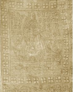 Section of The Tristan Quilt, oldest preserved quilt, Sicily ca. 1360-1400