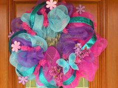 Spring Colored Deco Mesh Wreath by StyleWreaths on Etsy