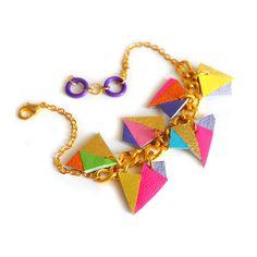 Neon Leather Charm Bracelet, Geometric Jewelry, Chunky Chain Triangle Kaleidoscope