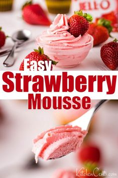 This strawberry mousse recipe is easy to make and inexpensive! It whips up in a matter of minutes and only requires 4 simple ingredients. This strawberry mousse recipe is perfect by itself or as a whi Jello Recipes, Easy No Bake Desserts, Köstliche Desserts, Delicious Desserts, Dessert Recipes, Cool Whip Desserts, Healthy Fruit Desserts, Dessert Bars, Breakfast Recipes