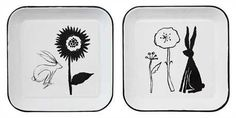 """10-1/2"""" Square Enameled Plate w/ Rabbit & Flowers, White, 2 Styles ©"""