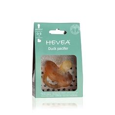 Original HEVEA Non-Toxic, Natural Rubber Duck Pacifier, Symmetrical teat, 0-3 and 3-36 months, Plastic-Free