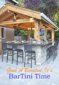 See why we love putting outdoor bars in our Exterior Designs. They're great for all ages. Good for Game days with the Guys, or wrapped around the bar with good food & happy friends & family. Outdoor Bar And Grill, Covered Outdoor Kitchens, Outdoor Bars, Backyard Pool Designs, Backyard Pergola, Backyard Landscaping, Porch Bar, Outdoor Pergola, Outdoor Kitchen Design