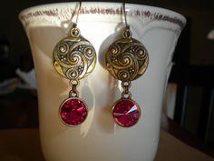 Detailed Brass Earrings with Fuchsia Swarovski by McHughCreations