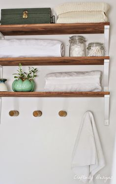 White and wood Ikea shelves