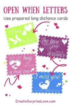 """These long distance cards are part of DIY Kit for create an """"Open When Letters"""" Boyfriend Care Package. Click and find this amazing DIY kit of labels and cards for create an unique thoughtful gift for your loved one! #openwhenletters #createsurpriselove Things To Do With Your Boyfriend, Perfect Gift For Boyfriend, Diy Gifts For Boyfriend, Unique Best Friend Gifts, Diy Gifts For Friends, Romantic Love Letters, Romantic Things To Do, Inside Open When Letters, Open When Cards"""