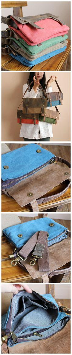 High Fashion Canvas Leather Shopping Bag Messenger Bag Briefcase