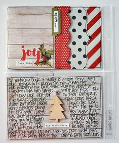 love the paper stacking with tag and stitching! Document Your December - Day 4 - Scrapbook.com