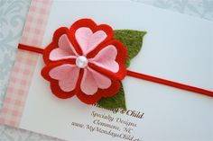 Valentines Day Headband - Felt Flower Headband in Red Hearts - Newborn Baby Headbands to Adult. $5.95, via Etsy.