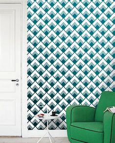 Removable self-adhesive vinyl Wallpaper wall decal - Diamond pattern sticker  C013 wall treatment home decor design green