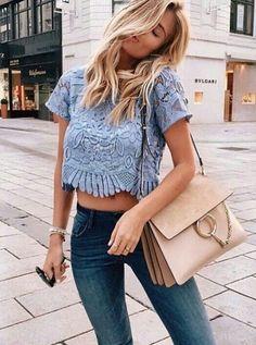 Blue lace top.
