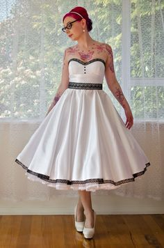 1950s 'Rose' Pin up Strapless Wedding Dress with by PixiePocket, $520.00