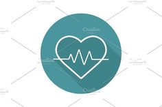 Heartbeat flat linear long shadow icon. Human Icons