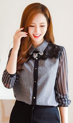 StyleOnme_Chiffon Pinstripe Sleeve Lace Front Collared Blouse #pinstripe #sheer #blouse #elegant #kfashion #autumn #look #trend #lace #black #grey #stylish #chic #seoul #style