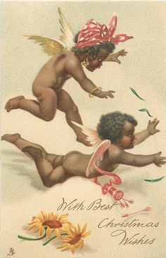 TUCK - two winged black angels or cupids, two orange daisies on ground Baby Angel Tattoo, Cupid Tattoo, Cherub Tattoo, Vintage Magazine, Black Santa, Angel Aesthetic, African American Dolls, Black Angels, Black History Facts