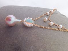 Stunning double stranded pearl and opal by KimBloombergDesigns