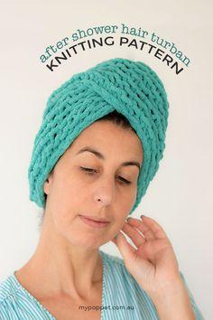 Free Knitting pattern - Microfibre hair towel turban wrap - mypoppet.com.au
