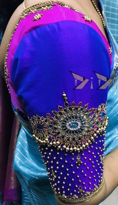 Latest Jeweled Blouse designs for 2019 - Vanki Styled Jeweled Blouse Design - Netted Blouse Designs, Wedding Saree Blouse Designs, Pattu Saree Blouse Designs, Simple Blouse Designs, Blouse Neck Designs, Pattern Blouses For Sarees, Hand Work Blouse Design, Aari Work Blouse, Maggam Work Designs