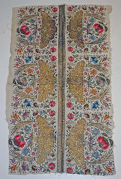 Textile Date: century Culture: Turkish Medium: cotton, silk Textile Patterns, Embroidery Patterns, Hand Embroidery, Vintage Pillows, Vintage Textiles, Palestinian Embroidery, Tapestry Fabric, Turkish Art, Lesage