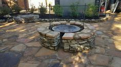 A new stone patio and a custom fire pit! Custom Fire Pit, Stone Masonry, Outdoor Kitchens, Fireplaces, Pond, Patio, Outdoor Decor, Home Decor, Fireplace Set
