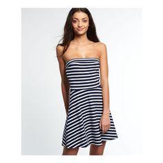 Superdry 90's Summer Dress ($40) ❤ liked on Polyvore featuring dresses, navy, navy blue skater skirt, summer dresses, white circle skirt, navy summer dress and strapless summer dresses