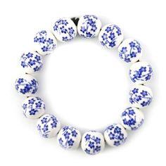 Chinese Hand-Made Retro Plum Flower Ceramic Bracelet