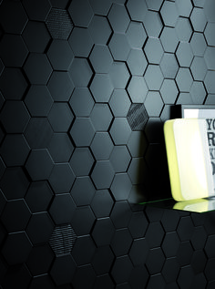 https://tile.expert/img_lb/Settecento/Skyline-Matiere/per_sito/ambienti/Hexa-Style-Black-3D-11x12,6---Hexa-Style-Carton-Black-11x12,.jpg , Effet effet 3d, Effet effet bois, Espace public, Grès cérame, revêtement mural, Surface mate, Surface brillante, Bord non rectifié, Variation de nuances V1