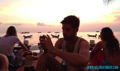 Having a beer by the sunset in Koh Tao
