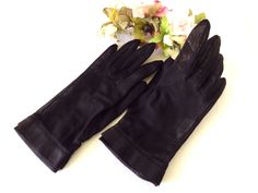 Midcentury Black Sheer Nylon Gloves by Wear-Right by EyeSpyGoods on Etsy