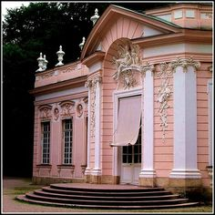 Munich, Germany, Roccoco masterpiece the pink Amalienburg  Palace - Schloss Nymphenburg grounds, Bavaria - It was constructed in 1734-1739 by François de Cuvilliés, in Rococo style, for the Holy Roman Emperor Charles VII and his wife, Maria Amalia of Austria. (photo by Robert in Toronto.)