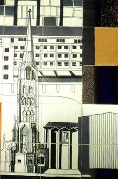 A detail of the Coventry Mural designed by Gordon Cullen, now situated in the Lower Precinct, Coventry - The Jackfield Conservation Studio Gordon Cullen, What To Draw, Coventry, Design Development, Designs To Draw, Conservation, Pencil Drawings, Lowes, Wander