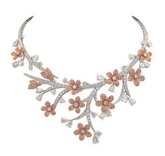Van Cleef & Arpels - A Midsummer Night's Dream collection 'Souffle de Printemps' necklace in white gold, diamonds and pink diamonds