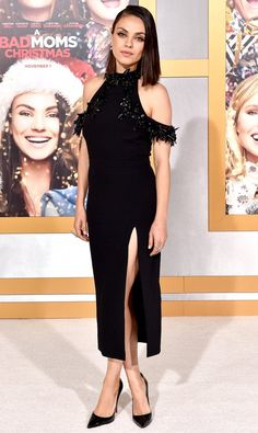 Mila Kunis in a beaded off-the-shoulder midi dress