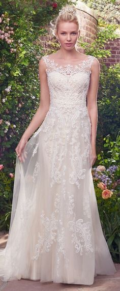 "More ""Second Looks"" for Your Ceremony and Reception! Alexis wedding dress by Rebecca Ingram is an affordable lace gown."