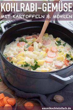 Kohlrabigemüse mit Kartoffeln und Möhren - emmikochteinfach Salad Dressing, Superfood, Potato Salad, Meal Planning, Salads, Curry, Veggies, Soup, Meals
