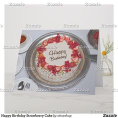Shop Happy Birthday Strawberry Cake Card created by stineshop. Silver Platters, Yummy Cakes, Decorative Plates, Strawberry, Happy Birthday, Create, Cards, Happy Brithday, Silver Trays