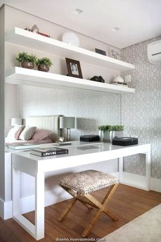 Ideas home office quarto casal pequeno for 2019 Home Office Design, Home Office Decor, Home Interior Design, Design Offices, Bedroom Desk, Mirror Bedroom, Dream Rooms, House Rooms, Room Decor