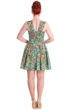 Hell Bunny Kleid IDAHO DRESS 4453 Türkis S: Amazon.de: Bekleidung