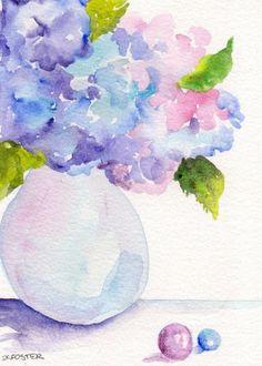 Hydrangeas painting ART in Vase