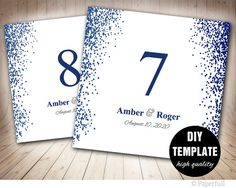 Wedding Table Numbers TemplatePrintable Table Card by paperfull