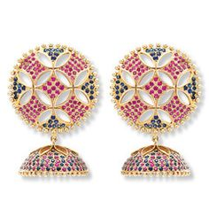 Rasvihar Ananda Bhairavi - The large, gently domed ear studs of these 18Karat Gold Jhumkas are designed to cup the wearer's earlobe. Rubies and blue sapphires are closely set in stylized squares and triangles; the intermittent cutwork adds delicacy and relief. Contrastingly, the surface of the cup is densely studded with these gemstones and topped with a finely crafted gold calyx motif for a rich effect. Gold beads rimming the ear studs and jhumki enhance the sumptuous beauty of this…