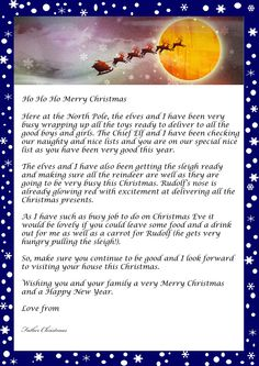 Free Santa Letter  Holiday  Christmas    Santa Free