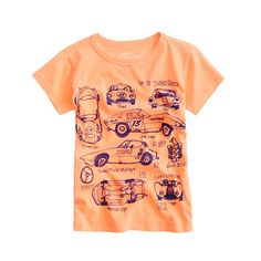 Boys' vintage race cars tee  I love this! Very handdrawn looking but a fantastic idea for little boy tees can see this with all sorts of vehicles!