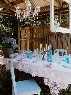 shabby rustic outdoor dining