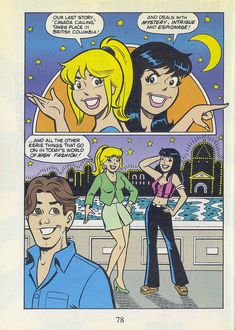 """Archie All Canadian Digest August 1996 - page introduction to """"Canada Calling"""" Vintage Cartoon, Vintage Comics, Archie Comics Veronica, Afterlife With Archie, Archie Comics Riverdale, Archie Comic Books, Betty & Veronica, Archie And Betty, Josie And The Pussycats"""