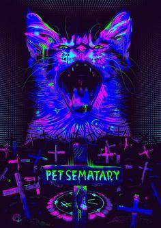 Shock Theater - New Sites Horror Movie Posters, Movie Poster Art, Horror Movies, Stephen King, Pet Sematary, Horror Artwork, Black Light Posters, Arte Cyberpunk, Fright Night
