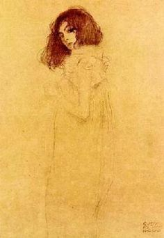 Gustav Klimt - Portrait of a young woman Life Drawing, Figure Drawing, Klimt Tattoo, Vienna Secession, Academic Art, Texture Art, Line Art, Modern Art, Sketches