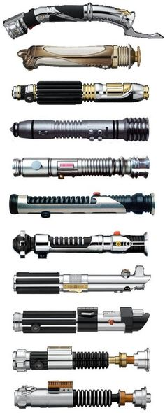 Lightsaber Quiz!  How many can you name?  ANSWERS (from top to bottom): Darth Tyrannus, Darth Sidious, Mace Windu, Kit Fisto, Ki-Adi-Mundi, Qui-Gon Jinn, Obi-wan Kenobi (Padawan), Anakin Skywalker (2nd lightsaber), Darth Vader, Obi-wan Kenobi (Master), Luke Skywalker.