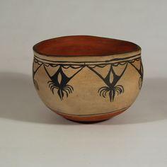"#adobegallery - Historic Cochiti Pueblo Deep Bowl. Category: Historic Origin: Cochiti Pueblo Medium: clay, pigment Size: 6-1/4"" deep x 8-1/2"" diameter Item # C3753.07"